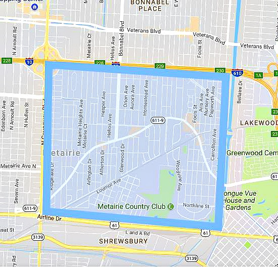 Map of Old Metairie Real Estate